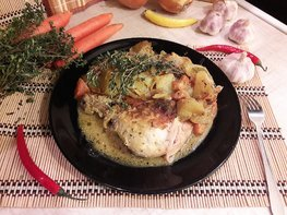 Картофель в горчице и курица в горчично-сметанном соусе