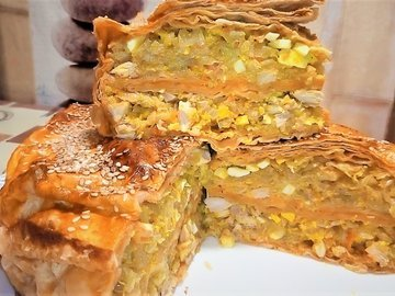 Ленивый пирог из лаваша с капустой и мясом